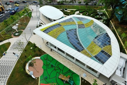 City Square Mall Singapore, Rooftop includes Solar Panels, Green Living Plants and Rainwater Harvesting!